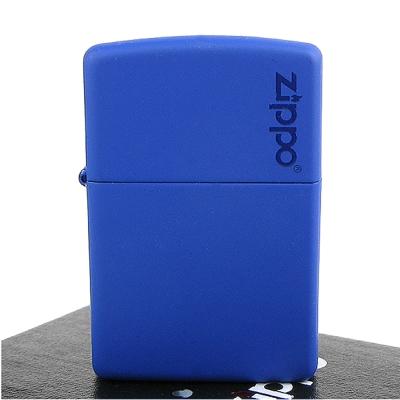 ~ZIPPO~美系~LOGO字樣打火機~Royal Blue Matte寶藍烤漆~寬版