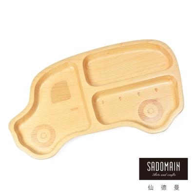 仙德曼 SADOMAIN  山毛櫸兒童餐盤-叭叭車