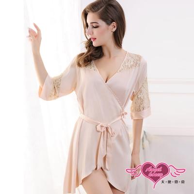 罩衫 浪漫花蕾 一件式蕾絲外罩連身性感睡衣(膚F) AngelHoney天使霓裳