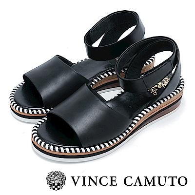 Vince Camuto 潮流心機 寬版繞踝滾邊後增高涼鞋-黑色