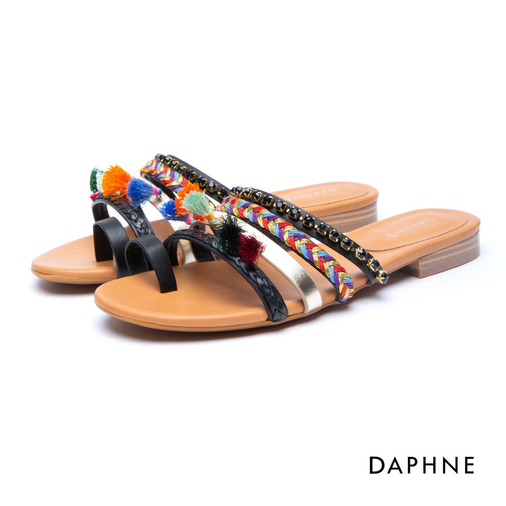 達芙妮DAPHNE 涼鞋-流蘇水鑽編織指環涼拖鞋-黑