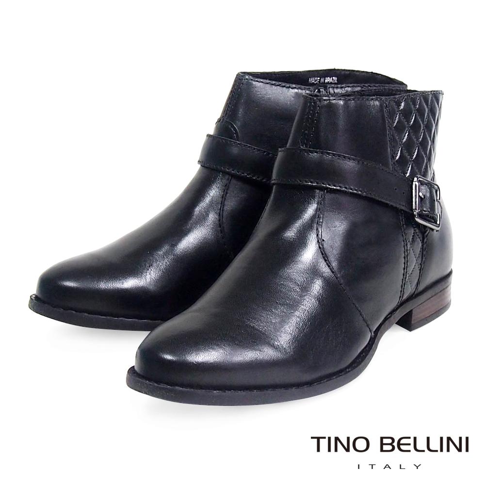 Tino Bellini 巴西進口經典菱格紋俐落短靴_黑