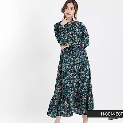 H:CONNECT 韓國品牌 女裝 - 復古花漾荷葉洋裝-綠
