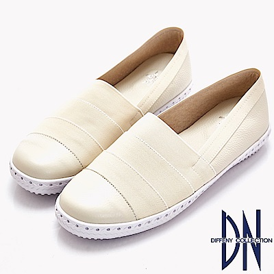 DN 趣味樂活 潮感繃帶拼接真皮休閒鞋-米白