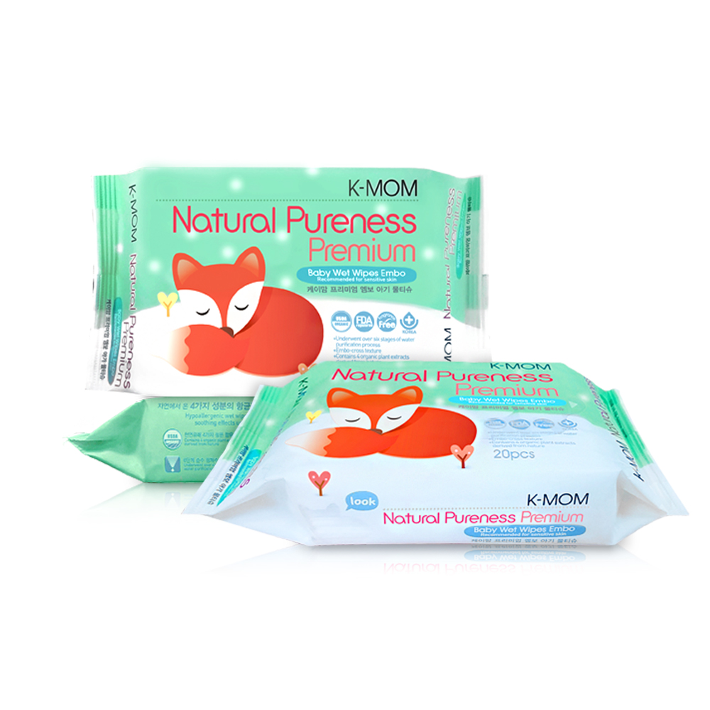 韓國MOTHER-K純淨自然幼兒濕紙巾(20抽/包)-隨身柔花款