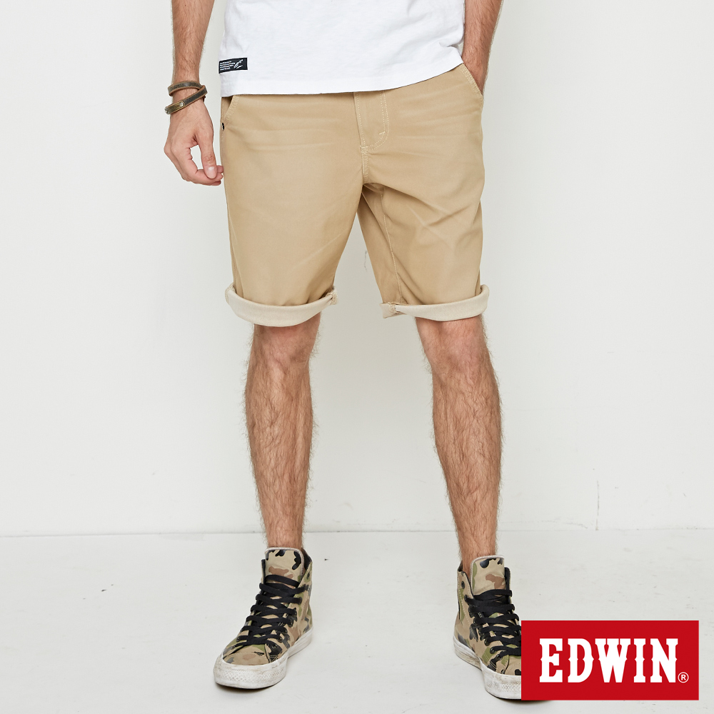 EDWIN 迦績褲JERSEY寬鬆色褲短褲-男-淺卡其