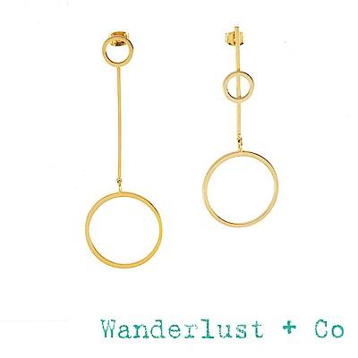 Wanderlust+Co 澳洲品牌 垂墜式圓圈X平衡骨耳環FULL CIRCLE&BAR