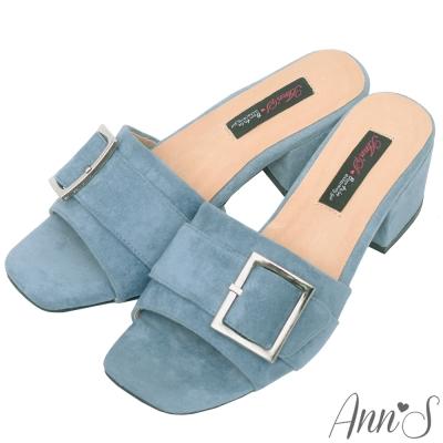 Ann'S時髦職人-方扣韓版粗跟涼拖鞋-藍