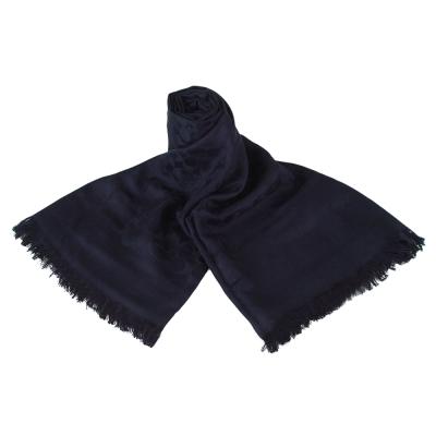 COACH經典C滿版LOGO絲質棉抽線流蘇披肩圍巾深藍
