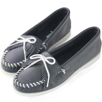 MINNETONKA 海軍藍牛皮莫卡辛女鞋