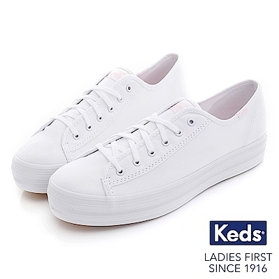 Keds TRIPLE KICK摩登時尚厚底綁帶休閒鞋-白/粉紅