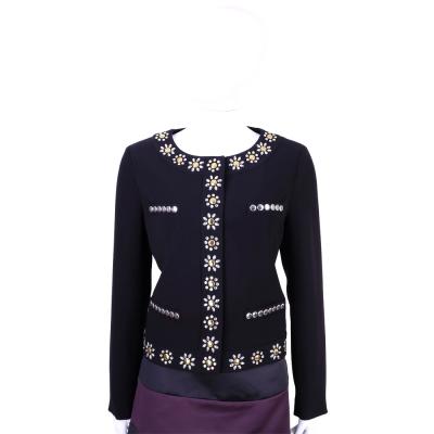 MOSCHINO 黑色鉚釘花飾滾邊外套