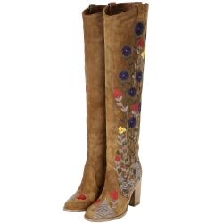 LAURENCE DACADE SILAS 繡花麂皮粗跟過膝長靴(駝色)