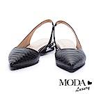低跟鞋 MODA Luxury 摩登知性造型蛇紋尖頭低跟鞋-黑