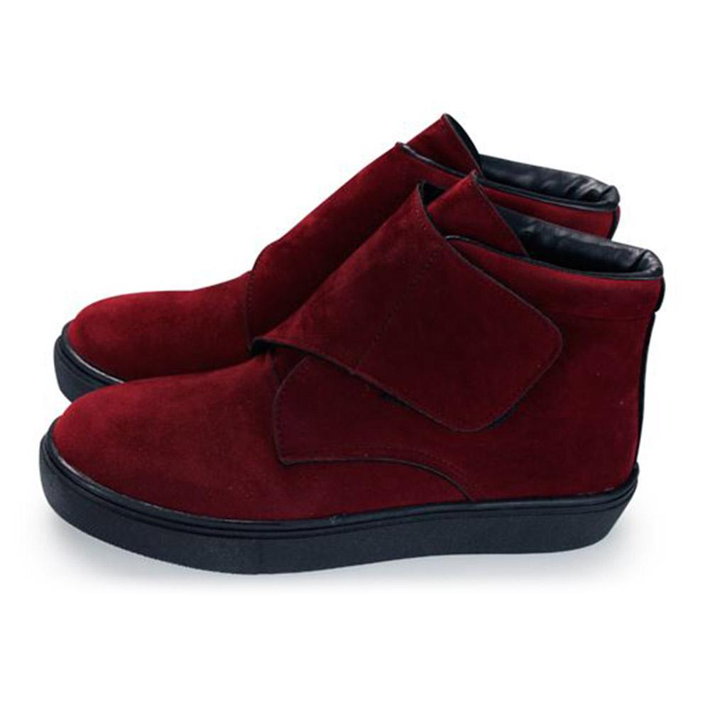 FUFA  MIT  絨毛黏帶馬靴 (FA63) 紅色