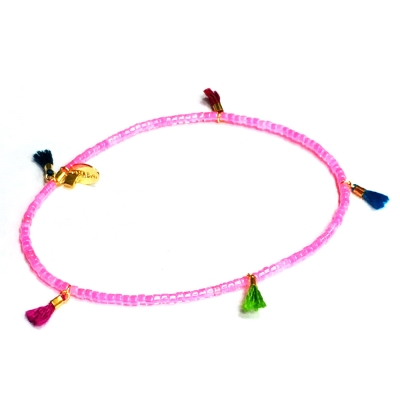 SHASHI Morgan Neon Pink 微顆粒珠珠 流蘇手鍊 瑩光粉紅 彈性手圍