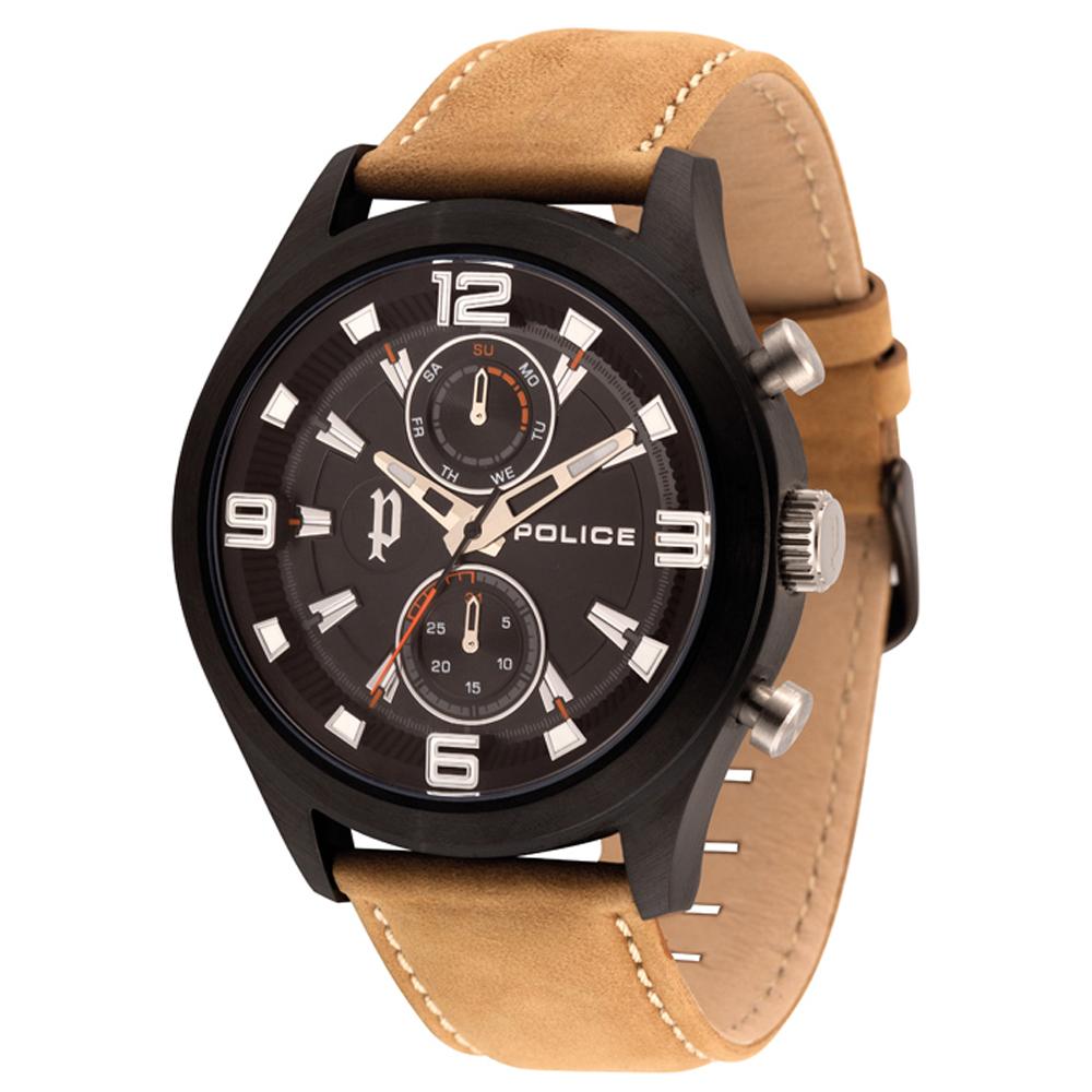 POLICE 時之冒險雙眼時尚腕錶-黑/49mm