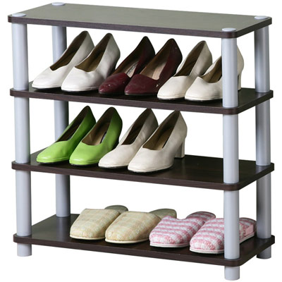 Homelike 簡約四層開放式鞋架-胡桃
