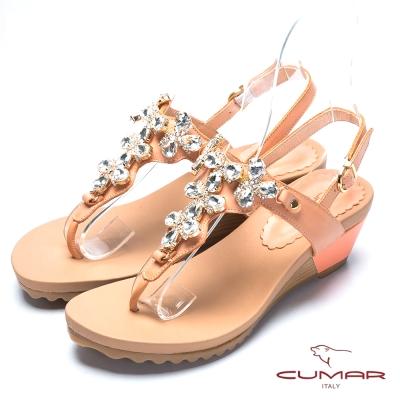 CUMAR氣質美人 水鑽裝飾夾腳涼鞋-柑色