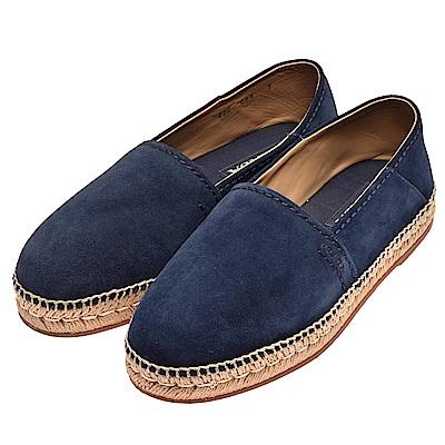 PRADA 品牌字母烙印麂皮厚底鉛筆鞋(海軍藍-7)