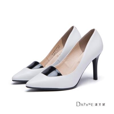 達芙妮DAPHNE-高跟鞋-撞色拼接平口尖頭鞋-白