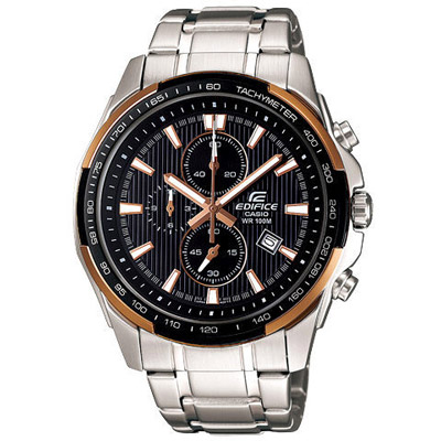 EDIFICE 極簡耀眼計時運動錶(黑金框)-45mm