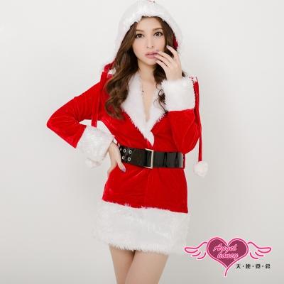 聖誕女郎 可愛連身絨布聖誕服 角色服(紅F) AngelHoney天使霓裳