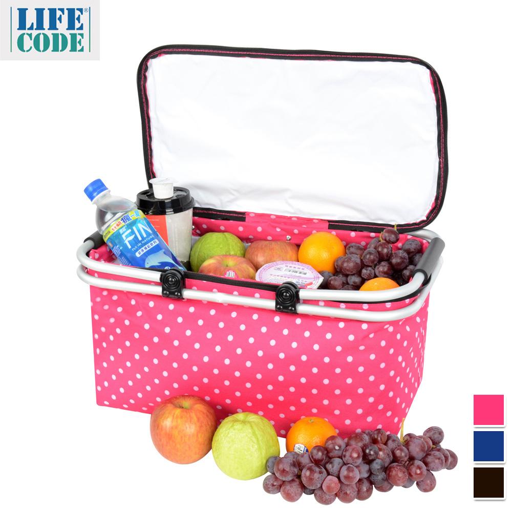 LIFECODE《點點風》鋁合金折疊保冰袋/野餐提籃-3色可選 product image 1