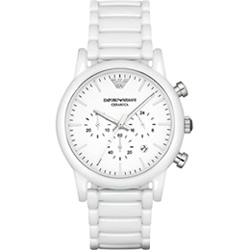 Emporio Armani Classic 經典白陶時尚腕錶-白/43mm