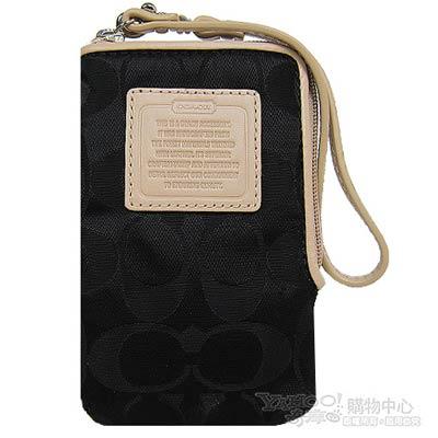 COACH 小C logo 尼龍款皮革飾邊手機袋(黑)