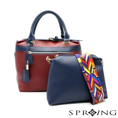 SPRING-la-vogue簡約奢華多way撞色子母包-紅藍
