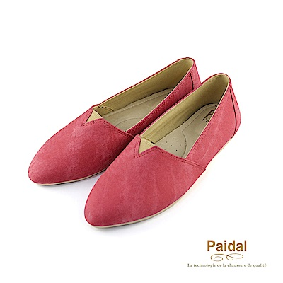 Paidal素色手刷感皮尖頭休閒樂福鞋-紅