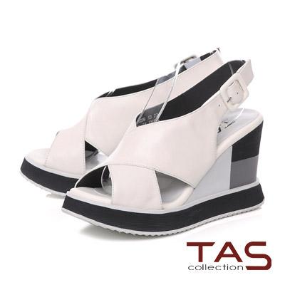 TAS 雙側鏤空寬繫帶配色厚底楔型涼鞋-時尚白