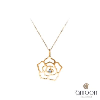 amoon 戀戀東京系列 薔薇 10K金鑽石項鍊-玫瑰金