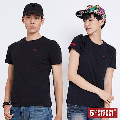 5th STREET 基本袋花圓領短袖T恤-中性-黑色