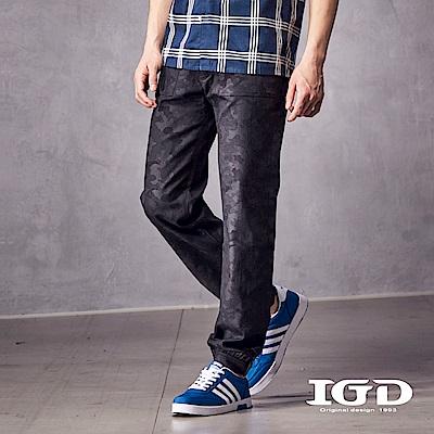 IGD英格麗 都會百搭棉質彈性迷彩方形貼袋造型休閒縮口長褲