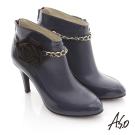 A.S.O 機能美靴 全真皮花朵金鏈奈米踝靴 藍