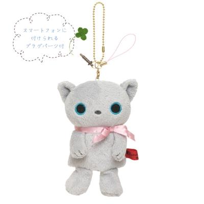 小襪貓音樂幸運草系列指偶公仔螢幕擦吊飾。小灰貓