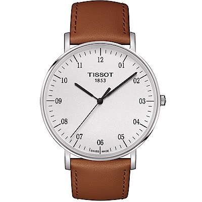 TISSOT天梭 EVERYTIME 雋永明朗大數字腕錶-銀x咖啡/42mm