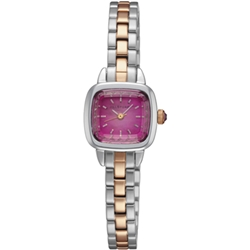 JILL STUART Ring Square優雅時尚方型腕錶-玫瑰紅x雙色版/19mm
