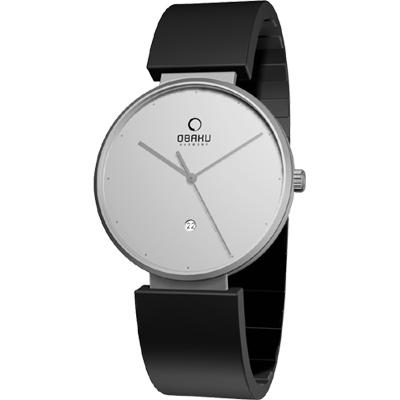 OBAKU 簡躍城市時尚腕錶-銀/40mm