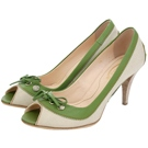 TOD'S 綠色滾邊拼接織織蝴蝶結飾魚口高跟鞋(展示品)