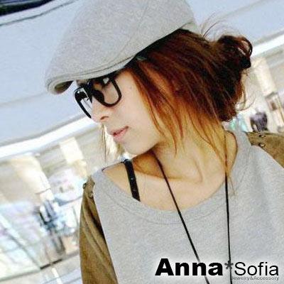 AnnaSofia 簡約素面細直紋厚棉 鴨舌帽小偷帽(灰系)