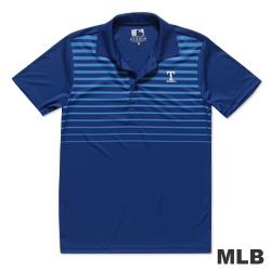 MLB-德州遊騎兵隊印花條紋快排POLO衫-藍(男)