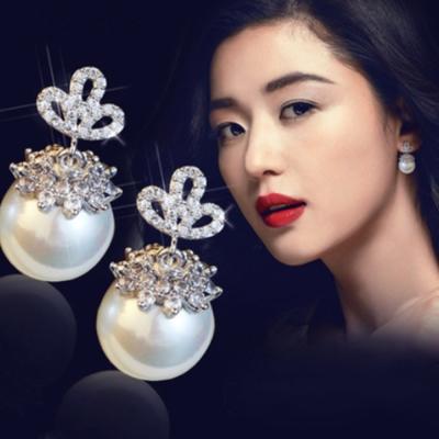 梨花HaNA  韓國藍色大海的傳說珍珠雙面水鑽托花耳環