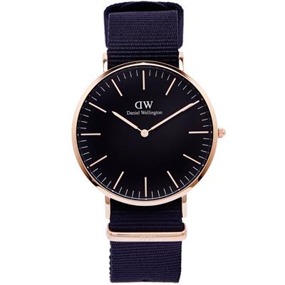 DW Daniel Wellington Cornwall手錶-黑面X玫瑰金色框/40mm