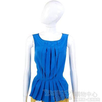 M.B.M.J 藍色抓摺造型無袖上衣