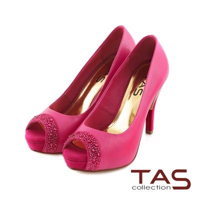 TAS-魚口水鑽點綴後金屬拼接高跟鞋-繽紛桃