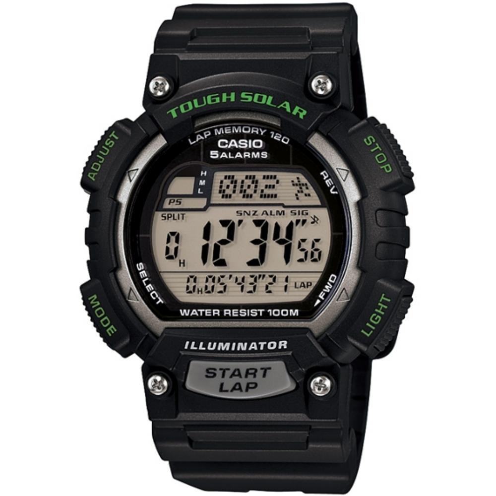 CASIO 魅力運動風太陽能電子錶(STL-S100H-1A)-黑x綠/45.4mm