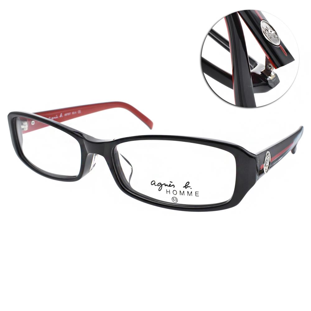 agnes b.眼鏡 法式小框款/黑-紅#AB7007 BCA